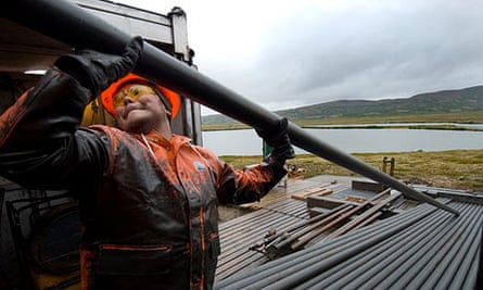 Drilling for core samples at the proposed site of Pebble mine by Lake Iliamna in Alaska.