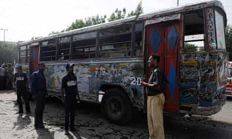 A Pakistani bus bombed while taking Shias to a rally in Karachi, killing one man and wounding 11