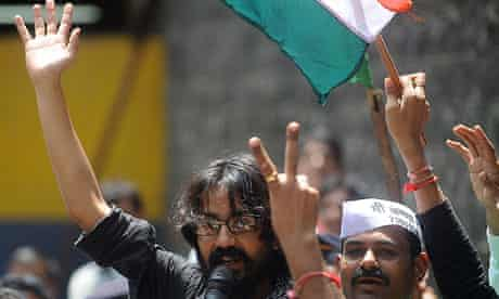 Indian cartoonist Aseem Trivedi after being freed from Mumbai jail