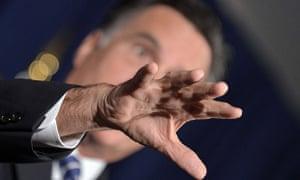 US Republican presidential candidate Mitt Romney speaks at Veterans for Romney event in Virginia