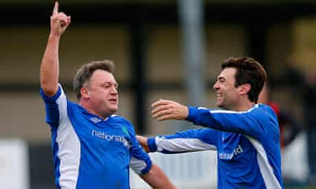 Ed Balls, left, and shadow health secretary Andy Burnham in the Labour party v media football match