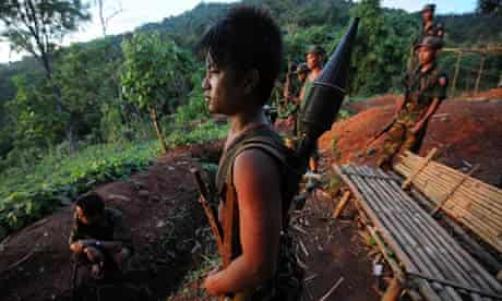 Kachin guerrillas of the All-Burma Students Democratic Front, allies of the Kachin Independence Army