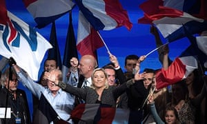 Marine Le Pen, leader of the far-right National Front, and her father Jean-Marie at the NF congress