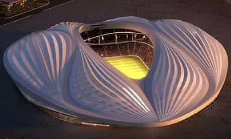 The design for Qatar's Al-Wakrah 'vagina' stadium. Zaha Hadid says it is inspired by Arab dhows