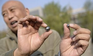 Two of the ball bearings packed into bombs that went off outside party offices in Taiyuan, Shanxi