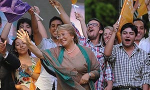 Michelle Bachelet, centre, celebrates with supporters after winning Chile's presidential election