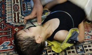 A child is given oxygen after the gas attack in the al-Ghouta district of Damascus.