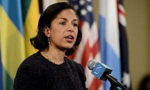 Susan Rice, US ambassador, said the fourth sanctions resolution would target diplomats and banking