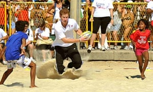 Prince Harry playing touch rugby in Rio de Janeiro.