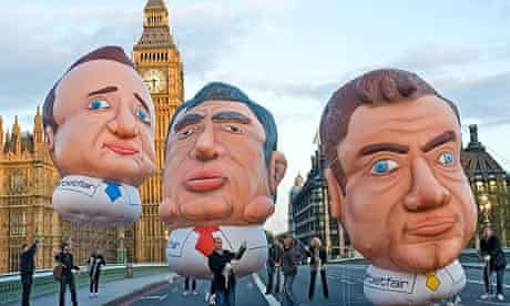 A Betfair stunt during the last election showing David Cameron, Gordon Brown and Nick Clegg balloons