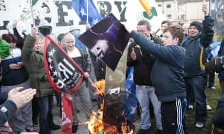 Irish Republicans celebrate by burning a mock coffin of Margaret Thatcher in the Bogside, Derry