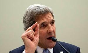 John Kerry, US secretary of state, testifies on Capitol Hill.