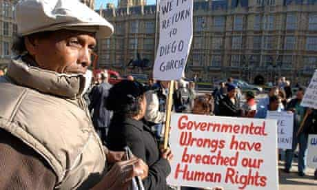 Chagos islanders demonstrating outside parliament at an earlier hearing of the case at the Lords