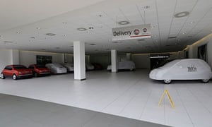 A Milan car dealer's empty delivery bay. Car sales have crashed in Italy