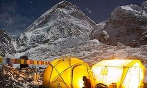 Everest base camp showing the Khumbu icefall.