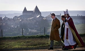 Prince Charles at a consecration ceremony in his Poundbury model village in Dorset,