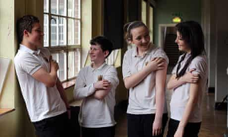 Welsh pupils, From left, Tomi Garland, Fergal Jowett, Ruby Durk and Rebecca Higgins at Bishop Gore