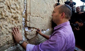 Naftali Bennett, leader of the Jewish Home party, at the Western Wall  in Jerusalem's Old City