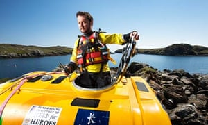 Nick Hancock in the Outer Hebrides as he prepared to go 230 miles to Rockall with his survival pod