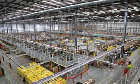 Amazon's huge warehouse in Hemel Hempstead, one of eight in the UK.