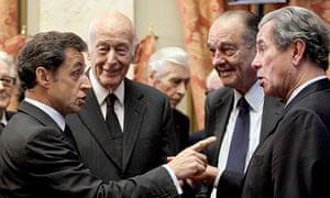 Nicolas Sarkozy, then president,  Jean-Louis Debré, Valéry Giscard d'Estaing and Jacques Chirac