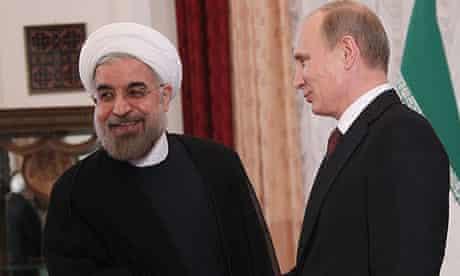 Iran's President Hassan Rouhani, left, meets Russian President Vladimir Putin in Bishkek, Kyrgyzstan