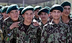 Afghan army recruits at a graduation ceremony near Kabul