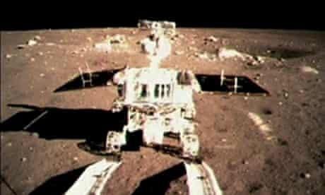 China's first lunar rover leaves tracks on the Moon after it rolls off the landing module last month