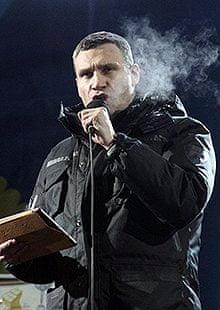 Ukrainian opposition co-leader Vitali Klitschko speaks at an anti-government rally in Kiev