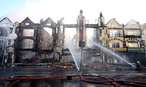 Burnt-out buildings in Croydon, London, after three nights of looting, violence and arson in 2011