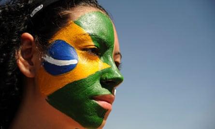 Brazil flag face