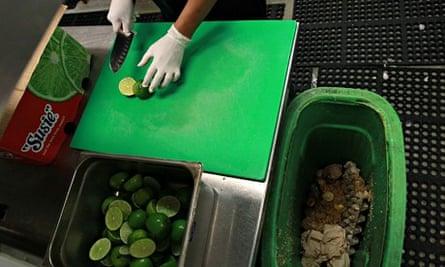 Composting waste at a San Francisco restaurant
