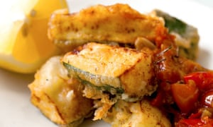 Nigel Slater's courgette fritters with tomato and rosemary