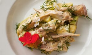 Nigel  Slater's chicken with dill and   basil mayonnaise