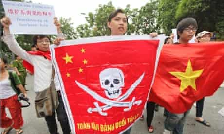 Vietnamese protest demanding China stays out of their waters