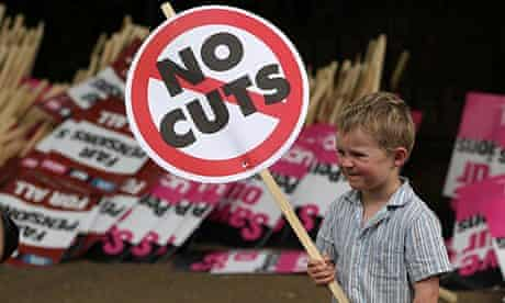young boy protests against pension cuts