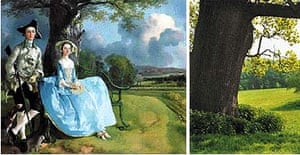 Mrs and Mrs Andrews by Gainsborough/The same oak tree now