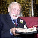 Spike Milligan with his honorary knighthood in 2001