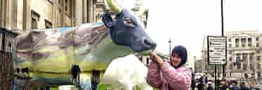 A visitor takes a closer look at Alberta Cowp, painted by Keith Wallace, outside the National Gallery in London