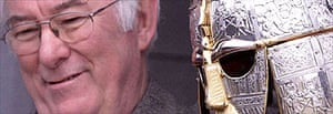 Poet Seamus Heaney with a replica Saxon helmet at Sutton Hoo visitor centre