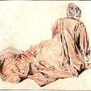 Woman in a Striped Dress by Antoine Watteau