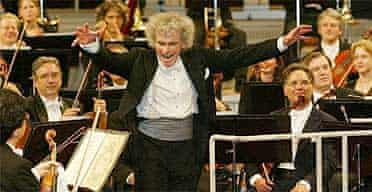 Sir Simon Rattle conducting the Berlin Philharmonic