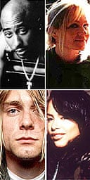 (clockwise from top left) Tupac Shakur, Eva Cassidy, Aaliyah, Kurt Cobain