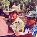 Explorer John Blashford-Snell delivering the Wai Wai's piano