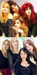 The Bangles in the 80s (top) and as they are today