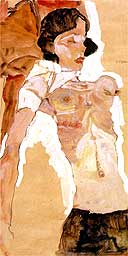 Schiele, Semi-Nude Girl, Reclining (detail)