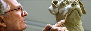Jim Mathieson works on his sculpture of Hogarth's pug, Trump