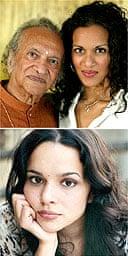 Ravi Shankar and his daughters, Anoushka (top) and Norah Jones
