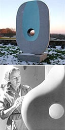 Barbara Hepworth's Pierced Monolith with Colour and the sculptor at work