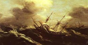 A painting of the Sussex sinking off Gibraltar in 1694
